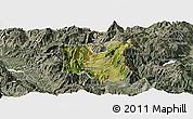 Satellite Panoramic Map of Dibër, semi-desaturated