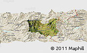 Satellite Panoramic Map of Dibër, shaded relief outside