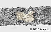 Shaded Relief Panoramic Map of Dibër, darken, desaturated