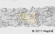 Shaded Relief Panoramic Map of Dibër, desaturated