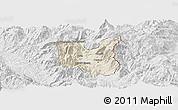 Shaded Relief Panoramic Map of Dibër, lighten, desaturated