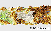 Shaded Relief Panoramic Map of Dibër, physical outside