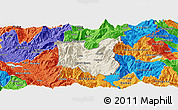 Shaded Relief Panoramic Map of Dibër, political outside