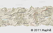 Shaded Relief Panoramic Map of Dibër