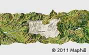 Shaded Relief Panoramic Map of Dibër, satellite outside