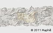 Shaded Relief Panoramic Map of Dibër, semi-desaturated