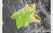 Physical Map of Elbasan, darken, desaturated
