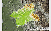 Physical Map of Elbasan, darken, semi-desaturated