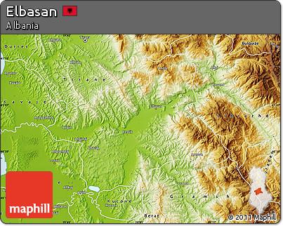 Physical Map of Elbasan