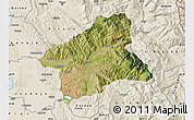 Satellite Map of Elbasan, shaded relief outside