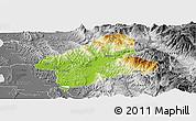 Physical Panoramic Map of Elbasan, desaturated