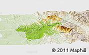 Physical Panoramic Map of Elbasan, lighten