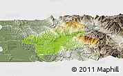 Physical Panoramic Map of Elbasan, semi-desaturated