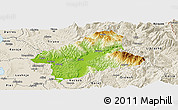 Physical Panoramic Map of Elbasan, shaded relief outside