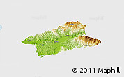 Physical Panoramic Map of Elbasan, single color outside