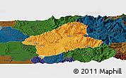 Political Panoramic Map of Elbasan, darken
