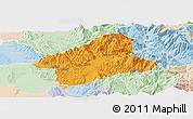 Political Panoramic Map of Elbasan, lighten