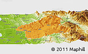 Political Panoramic Map of Elbasan, physical outside