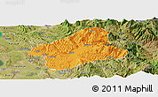 Political Panoramic Map of Elbasan, satellite outside
