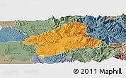 Political Panoramic Map of Elbasan, semi-desaturated