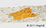 Political Panoramic Map of Elbasan, shaded relief outside