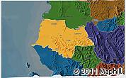 Political 3D Map of Fier, darken