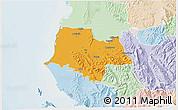 Political 3D Map of Fier, lighten
