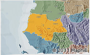 Political 3D Map of Fier, semi-desaturated