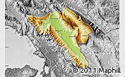 Physical Map of Gjirokastër, desaturated