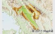 Physical Map of Gjirokastër, lighten