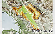 Physical Map of Gjirokastër, semi-desaturated