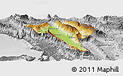 Physical Panoramic Map of Gjirokastër, desaturated