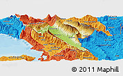 Physical Panoramic Map of Gjirokastër, political outside