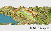 Physical Panoramic Map of Gjirokastër, satellite outside
