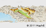 Physical Panoramic Map of Gjirokastër, shaded relief outside