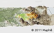 Physical Panoramic Map of Gramsh, semi-desaturated