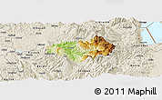 Physical Panoramic Map of Gramsh, shaded relief outside
