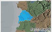 Political 3D Map of Kavajë, darken, semi-desaturated