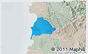 Political 3D Map of Kavajë, lighten, semi-desaturated