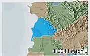 Political 3D Map of Kavajë, semi-desaturated