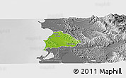 Physical Panoramic Map of Kavajë, desaturated