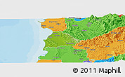 Physical Panoramic Map of Kavajë, political outside