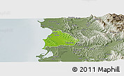 Physical Panoramic Map of Kavajë, semi-desaturated