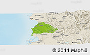 Physical Panoramic Map of Kavajë, shaded relief outside