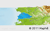 Political Panoramic Map of Kavajë, physical outside