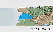 Political Panoramic Map of Kavajë, semi-desaturated