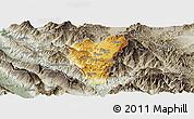 Physical Panoramic Map of Kolonjë, semi-desaturated