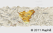 Physical Panoramic Map of Kolonjë, shaded relief outside