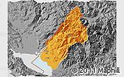 Political 3D Map of Koplik, desaturated