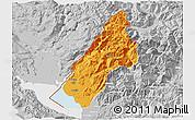 Political 3D Map of Koplik, lighten, desaturated